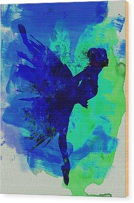 Ballerina On Stage Watercolor 2 Wood Print by Naxart Studio