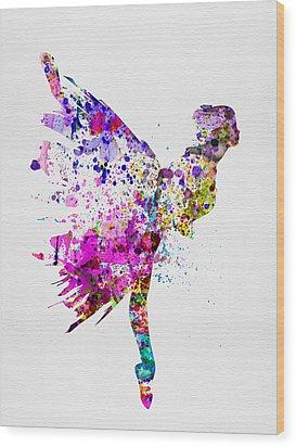 Ballerina On Stage Watercolor 3 Wood Print by Naxart Studio