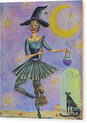 Ballerina Witch Wood Print by Emily Michaud