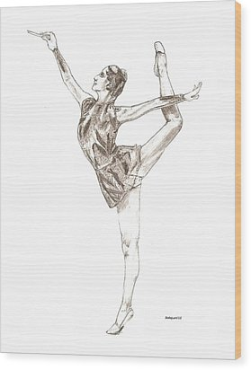 Ballet A Pencil Study In Black And White Wood Print by Mario Perez