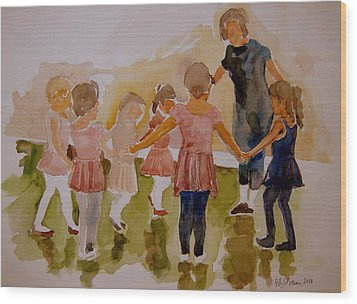 Wood Print featuring the painting Ballet Class by Jeffrey S Perrine