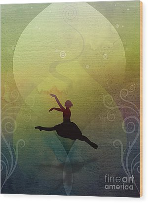 Ballet In Solitude - Color Verde Wood Print by Peter Awax