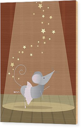 Ballet Mouse Nursery Art Girl Wood Print by Christy Beckwith
