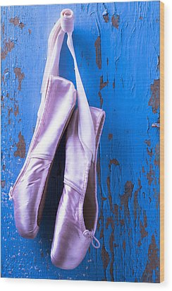 Ballet Shoes On Blue Wall Wood Print by Garry Gay