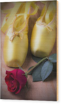 Ballet Shoes With Red Rose Wood Print by Garry Gay