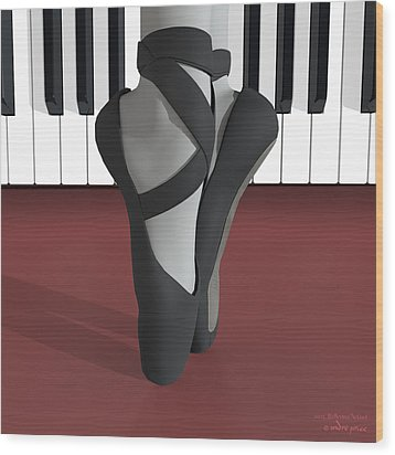 Ballet Toe Shoes Over Royal Red And Piano Keys Wood Print by Andre Price