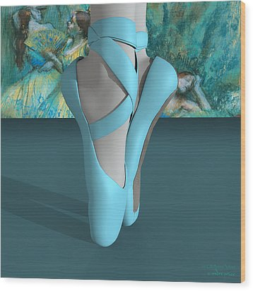 Ballet Toe Shoes With A Touch Of Edgar Degas Wood Print by Andre Price