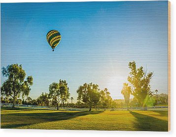 Balloon At Sunset Wood Print by Alex Weinstein