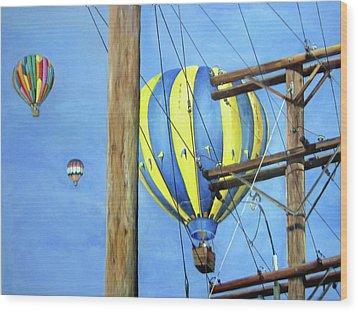 Balloon Race Wood Print by Donna Tucker