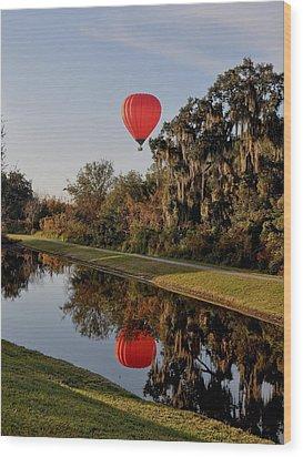 Balloon Reflection Wood Print by John Black