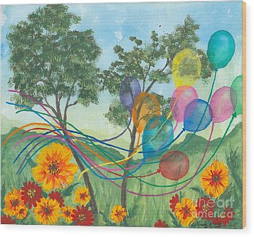 Balloon Release Wood Print by Denise Hoag