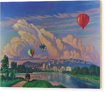 Wood Print featuring the painting Ballooning On The Rio Grande by Art James West