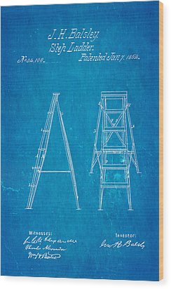Balsley Step Ladder Patent Art 1862 Blueprint Wood Print by Ian Monk