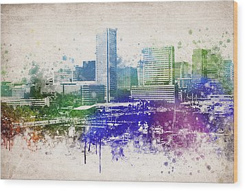 Baltimore City Skyline Wood Print by Aged Pixel
