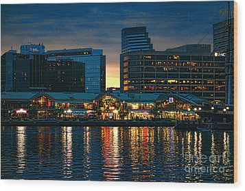 Baltimore Harborplace Light Street Pavilion Wood Print by Olivier Le Queinec