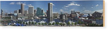 Baltimore Inner Harbor Panorama Wood Print by Bill Swartwout