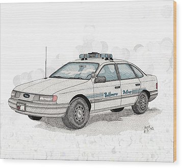 Baltimore Police Car Wood Print by Calvert Koerber