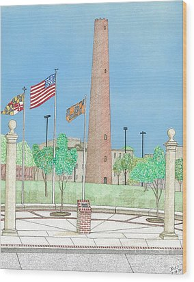 Baltimore Shot Tower Wood Print by Calvert Koerber