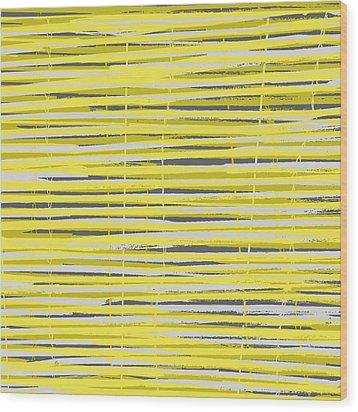 Bamboo Fence - Yellow And Gray Wood Print by Saya Studios