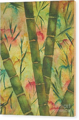 Wood Print featuring the painting Bamboo Garden by Chrisann Ellis