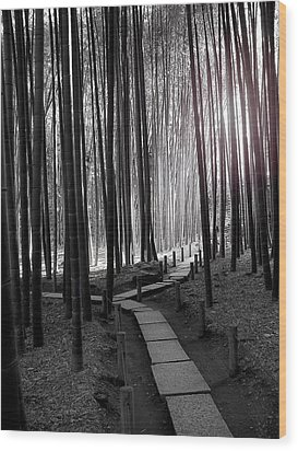 Bamboo Grove At Dusk Wood Print by Larry Knipfing