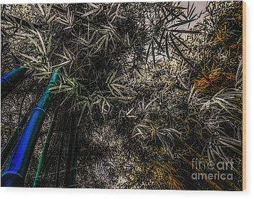bamboo III - blue - yellow Wood Print by Hannes Cmarits