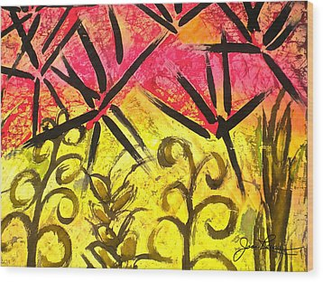 Wood Print featuring the painting Bamboo In The Wind by Joan Reese