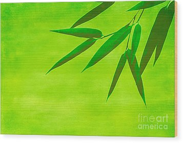 Bamboo Leaves Wood Print by Hannes Cmarits