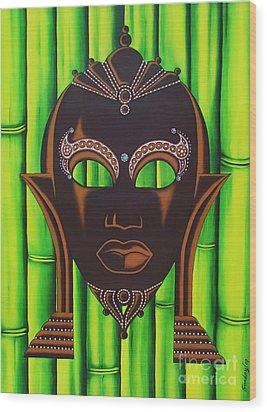 Bamboo Mask Wood Print by Joseph Sonday