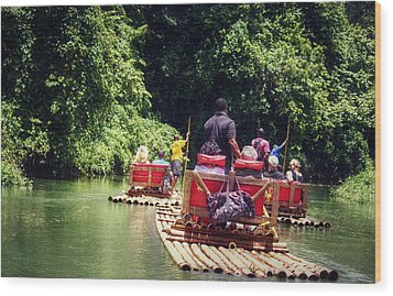 Bamboo River Rafting Wood Print by Melanie Lankford Photography