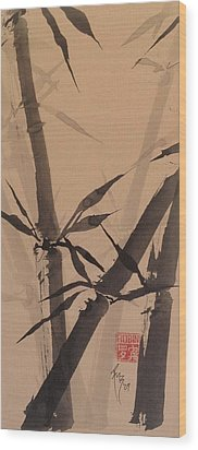 Bamboo Study #1 On Tagboard Wood Print by Robin Miller-Bookhout