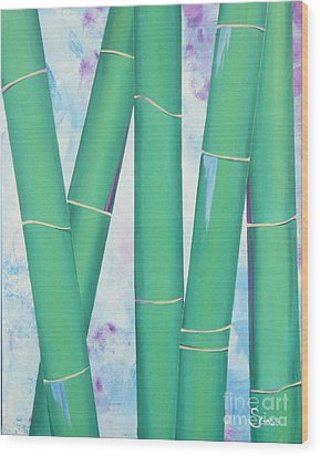 Bamboo Tryptych 3 Wood Print