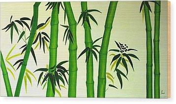 Bamboos Wood Print by Sonali Kukreja