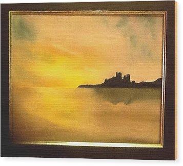 Bamburgh Castle Wood Print by Audrey Pollitt