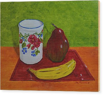 Wood Print featuring the painting Banana Pear And Vase by Melvin Turner