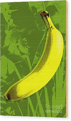 Banana Pop Art Wood Print by Jean luc Comperat