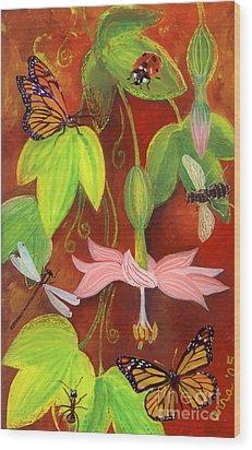 Wood Print featuring the painting Bananapoka by Anna Skaradzinska