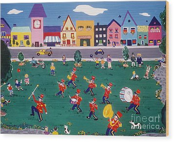Wood Print featuring the painting Band Practice by Joyce Gebauer