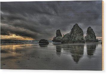 Bandon Beach Storm Wood Print