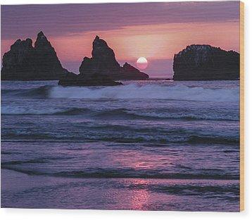 Bandon Beach Sunset Wood Print