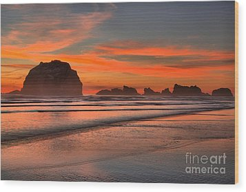 Bandon Sunset And Surf Wood Print by Adam Jewell