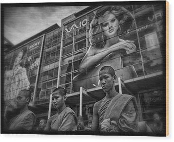 Bangkok Mall Monks Wood Print by David Longstreath