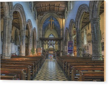 Bangor Cathedral V2 Wood Print by Ian Mitchell