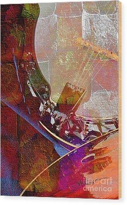 Banjo And Friend Digital Banjo And Guitar Art By Steven Langston Wood Print by Steven Lebron Langston