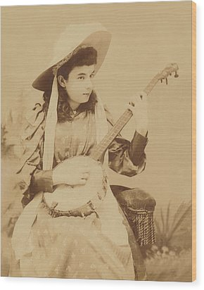 Banjo Girl 1880s Wood Print by Paul Ashby Antique Image