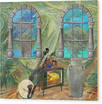 Wood Print featuring the mixed media Banjo Room by Ally  White