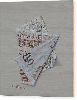 Bank Of Ireland Ten Pound Banknote Wood Print