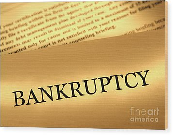 Bankruptcy Notice Wood Print by Olivier Le Queinec