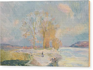 Banks Of The Seine And Vernon In Winter Wood Print by Albert Charles Lebourg