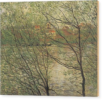 Banks Of The Seine Island Of La Grande Jatte Wood Print by Claude Monet